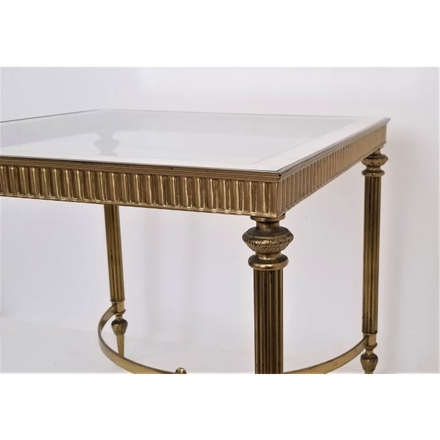 Brass Vintage Italian Mid Century Modern Brass Mirror Glass End Side Table For Sale - Image 7 of 12