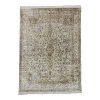 Vintage Persian Silk Qum Rug - 08'00 X 11'01 For Sale