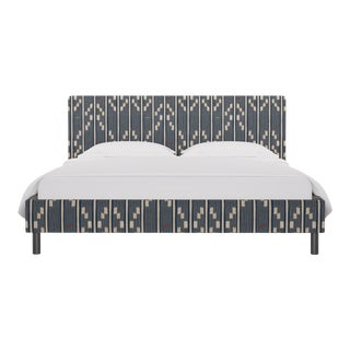 California King Tailored Platform Bed in Linea Ikat For Sale