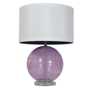 Lavender Murano Glass Table Lamp For Sale