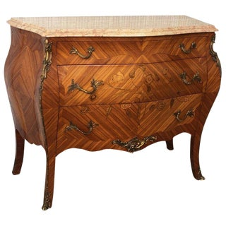20th French Louis XV Marble-Top Bombe Chest or Commode With Three Drawers For Sale