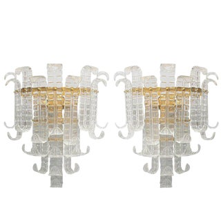 Italian Felci Sconces by Barovier E Toso - a Pair For Sale