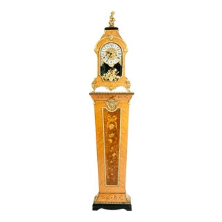 20th Century Fruitwood Veneer Case Tiffany Mantel Clock / Pedestal For Sale