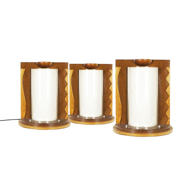 White 1980 Table Lamp, Mdf, Beech and Pine Woods, Plexiglass and Parchment - Spain For Sale - Image 8 of 9