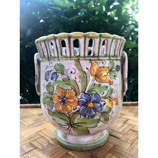 Italian Ceramic Floral Reticulated Cachepot Urn Preview