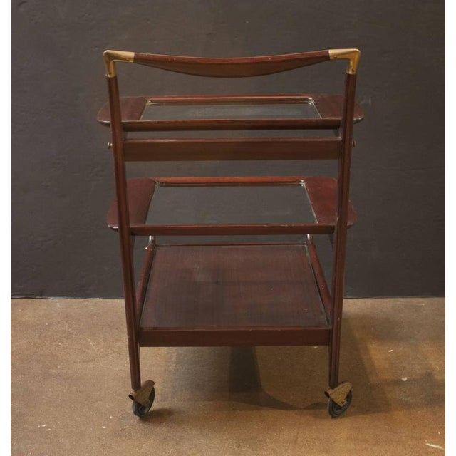 Cassina Sleek and Sexy Italian Mod Rosewood Bar Cart by Cesare Lacca For Sale - Image 4 of 7