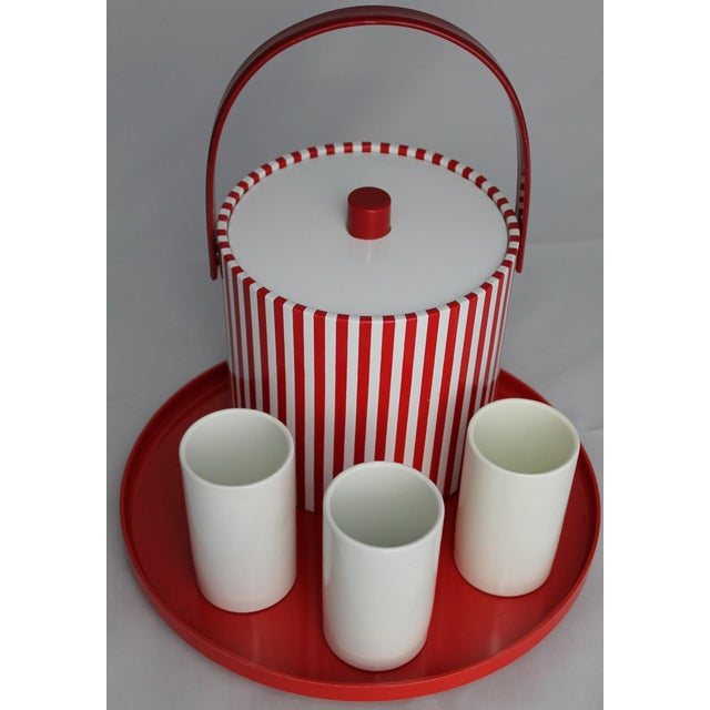Fun vintage mid-century modern style beverage set combo consisting of a Prisma red and white striped ice bucket, three...