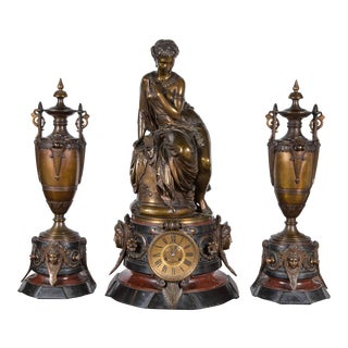 Belle Époque Palace Bronze Clock Set - 3 Pc. For Sale