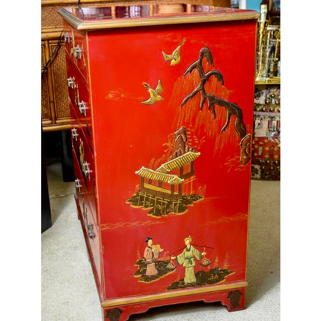 Chinoiserie Red Lacquer Chest of Drawers For Sale - Image 10 of 13