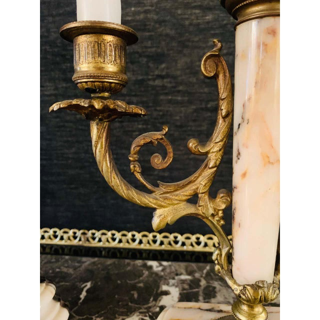 Louis XVI Style Alabaster and Bronze Clock Garniture Set 19th-Early 20th Century For Sale - Image 9 of 13