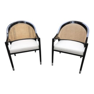 Modern Edward Wormley Style Cane Chairs- A Pair For Sale