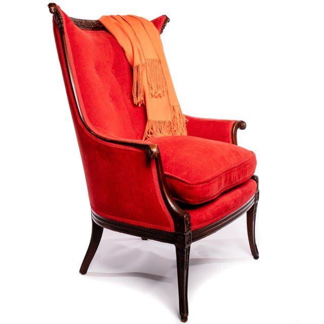 Art Deco Tufted Red Velvet Chenille and Wood Lounge Chair For Sale - Image 3 of 5