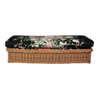 Italian Mid-Century Wicker Bench With Floral Cushion