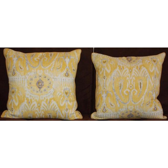 Yellow Ikat Throw Pillows - A Pair - Image 6 of 6