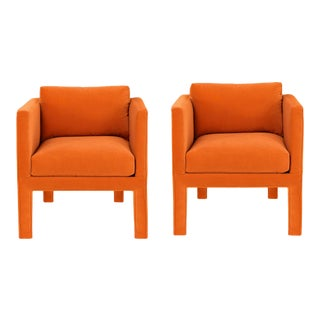 1970s Vintage Milo Baughman Style Parsons Lounge Chairs- A Pair For Sale