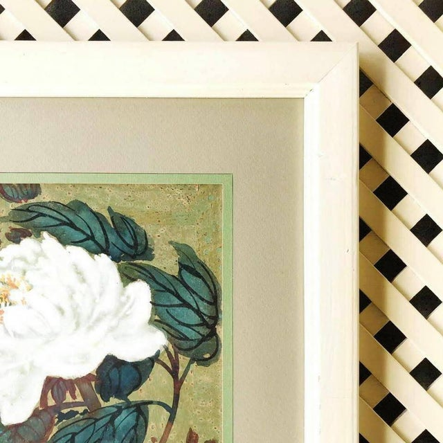Asian Hui Chi Mau Vintage Art Print, Floral and Butterfly Decor in a Wide, Unique Frame For Sale - Image 3 of 6