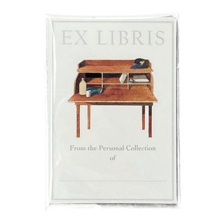 """Wood Desk"" - Illustrated Large Bookplates - Set of 5 For Sale"