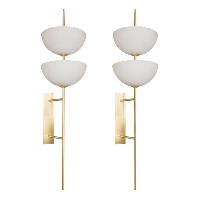 Monumental Murano Milk Glass and Brass Reverse Dome Trophy Sconces - a Pair For Sale - Image 9 of 9