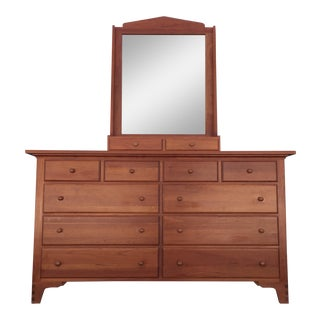 Solid Cherry Long Dresser & Mirror