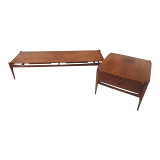 Mid Century Modern Bassett Coffee & Side End Table For Sale