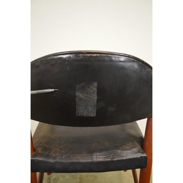 *STORE ITEM #: 18818-mr Danish Modern Teak & Black Leather Vintage Arm Chair AGE / ORIGIN: Approx. 60 years, Denmark...