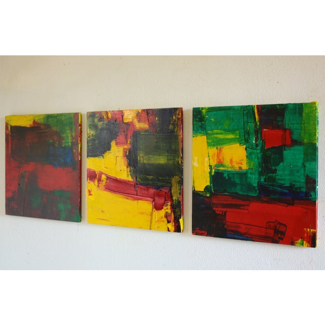 Red, Green & Yellow Abstract Modern Acrylic - Image 2 of 3