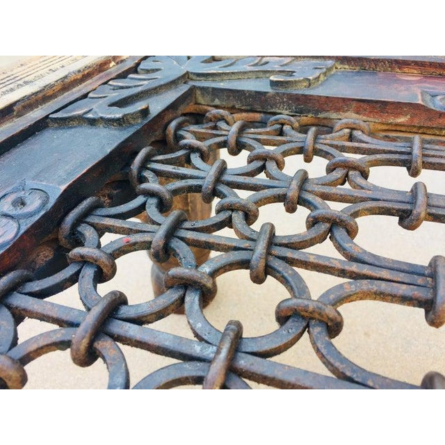 Iron Teak Wood Large Coffee Table With Iron Inset Jali Work For Sale - Image 7 of 13