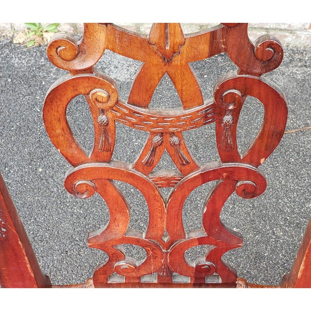 1980s Vintage Heavily Carved Mahogany Chippendale Style Dining Room Side Chairs- Set of 6 For Sale - Image 10 of 13