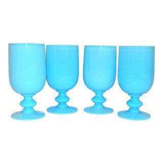 Vintage French Blue Opaline Portieux Vallerysthal Goblets - Set of 4 For Sale
