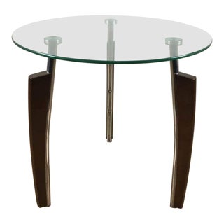 Mid-Century Modern Chrome & Glass Side Table