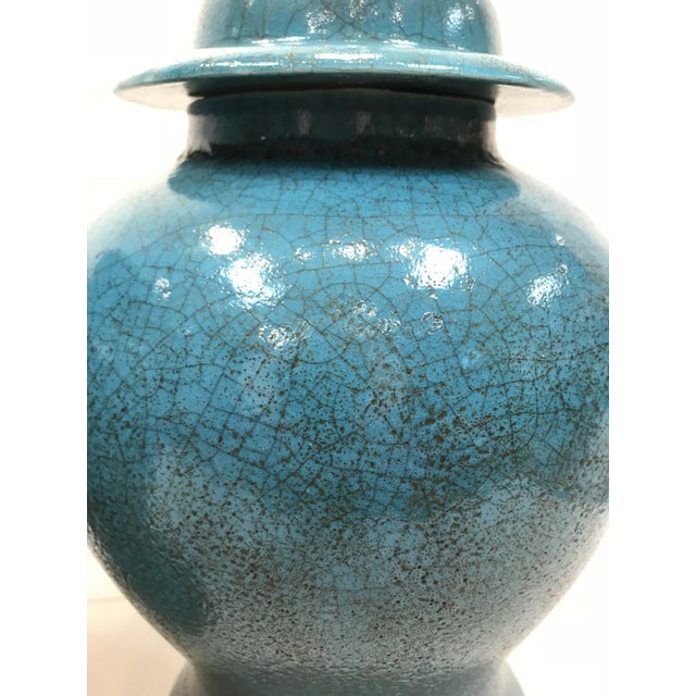 Vintage Turquoise Ceramic Crackle Lamps- a Pair For Sale - Image 6 of 9