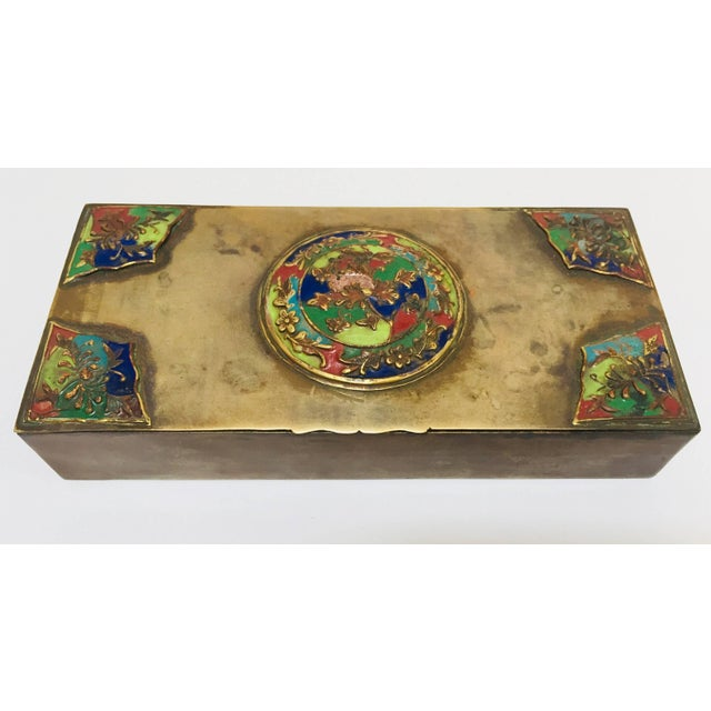 Brass Art Deco Lidded Box With Enameled Decoration For Sale - Image 13 of 13