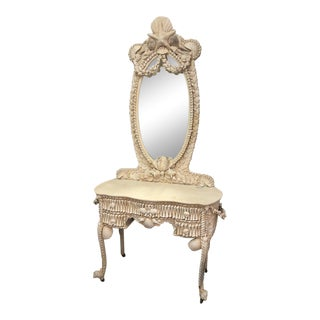 Mid 20th Century Shell Dressing Table With Mirror For Sale