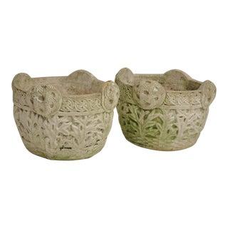 Pair of Small Antique Celtic Maple Leaf Design Concrete Planters