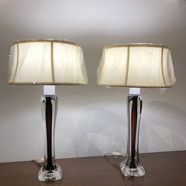 Eggplant Swedish Flygsfors Double Encased Glass Lamps - a Pair For Sale - Image 8 of 9