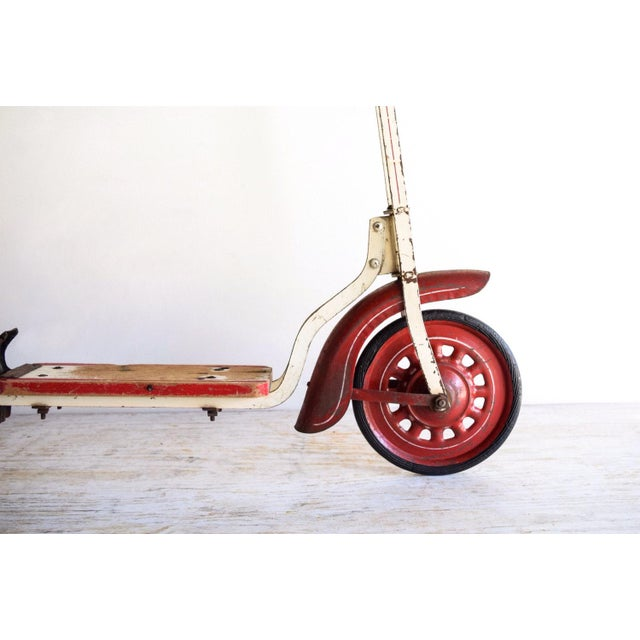 Vintage Antique Metal & Wood Child's Scooter For Sale - Image 5 of 6