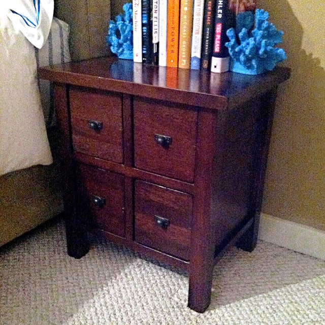 Mahogany Wood 4-Drawer Apothecary Side Table - Image 4 of 5