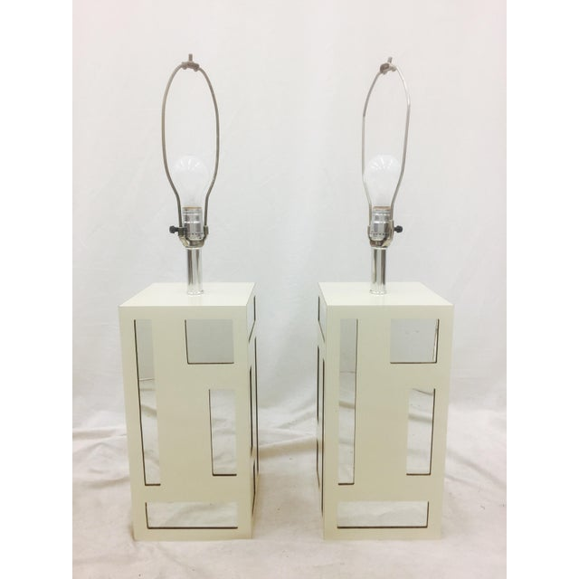 Contemporary Vintage Mid-Century Mirrored Lamps - A Pair For Sale - Image 3 of 10