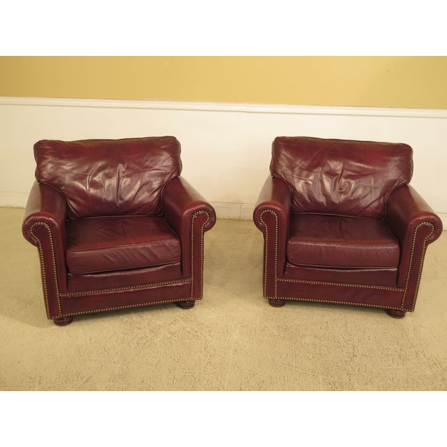 Burgundy Leather Club Chairs - A Pair - Image 13 of 13