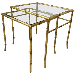 Italian Gold Gilt Bamboo and Glass Nesting or End Tables, Set of 2 For Sale
