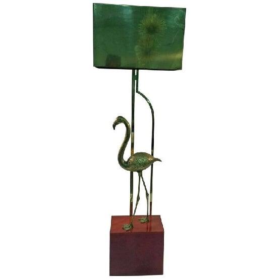 Great design polished brass flamingo floor lamp with tortoiseshell Lucite cube base, original rectangular brass lampshade...