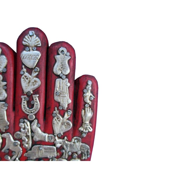 Mexican Folk Art Red Wooden Hand - Image 2 of 4