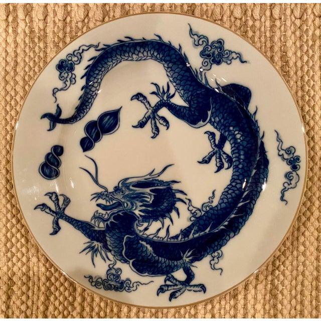 Ceramic Vintage Mottahedeh Blue Dragon Round Platter/Chop Plate For Sale - Image 7 of 7