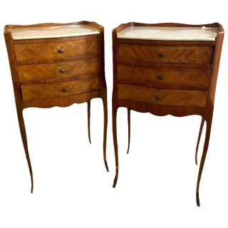 Pair of French Antique Marble Top 3-Drawer Stands / End Tables or Nightstands For Sale