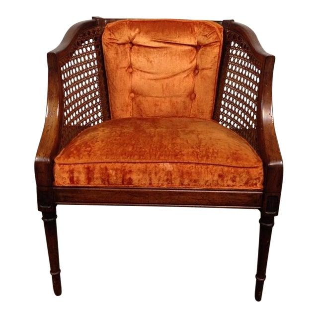 Antique Walnut & Cane Velvet Upholstered Armchair - Image 1 of 5