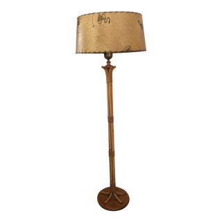 1950s Vintage Midcentury French Rattan Bamboo Floor Lamp with Original Parchment Shade For Sale