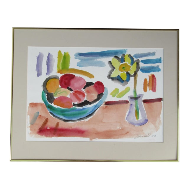 "George Daniell ""Flowers & Fruit"" Still Life Watercolor - Image 1 of 5"