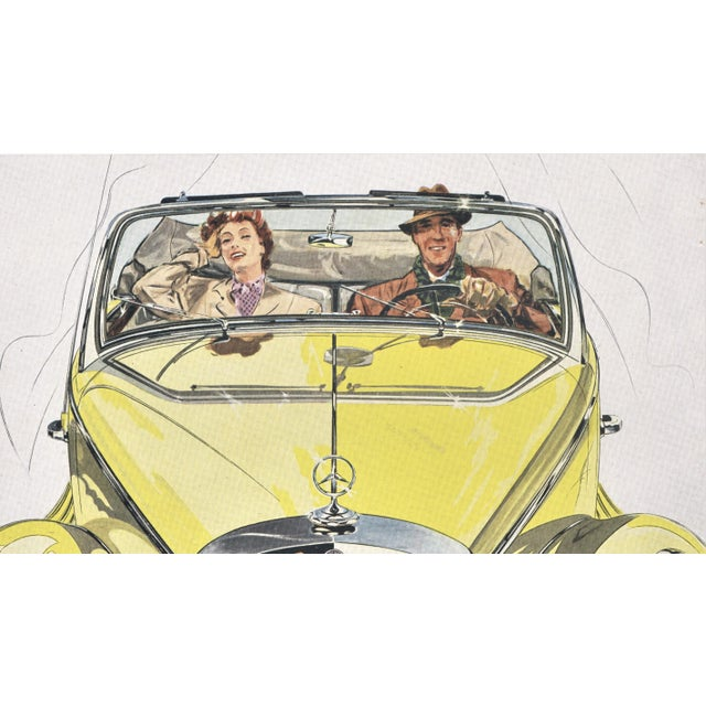 Mid-Century Modern Matted 1950 Mercedes-Benz 170s Car Advertisement Print For Sale - Image 3 of 5