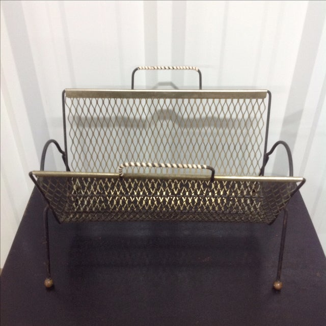 Mid-Century Modern Fredrick Weinberg Black & Gold Mesh Magazine Rack For Sale - Image 3 of 5