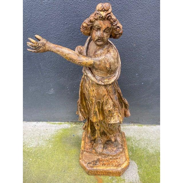 18th Century Italian Giltwood Figure For Sale - Image 12 of 13